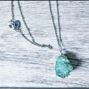 Raw Jade chunky pendant necklace